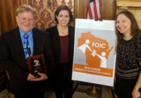 FOIC President Bill Lueders and Co-Vice Presidents Christa Westerberg and April Barker